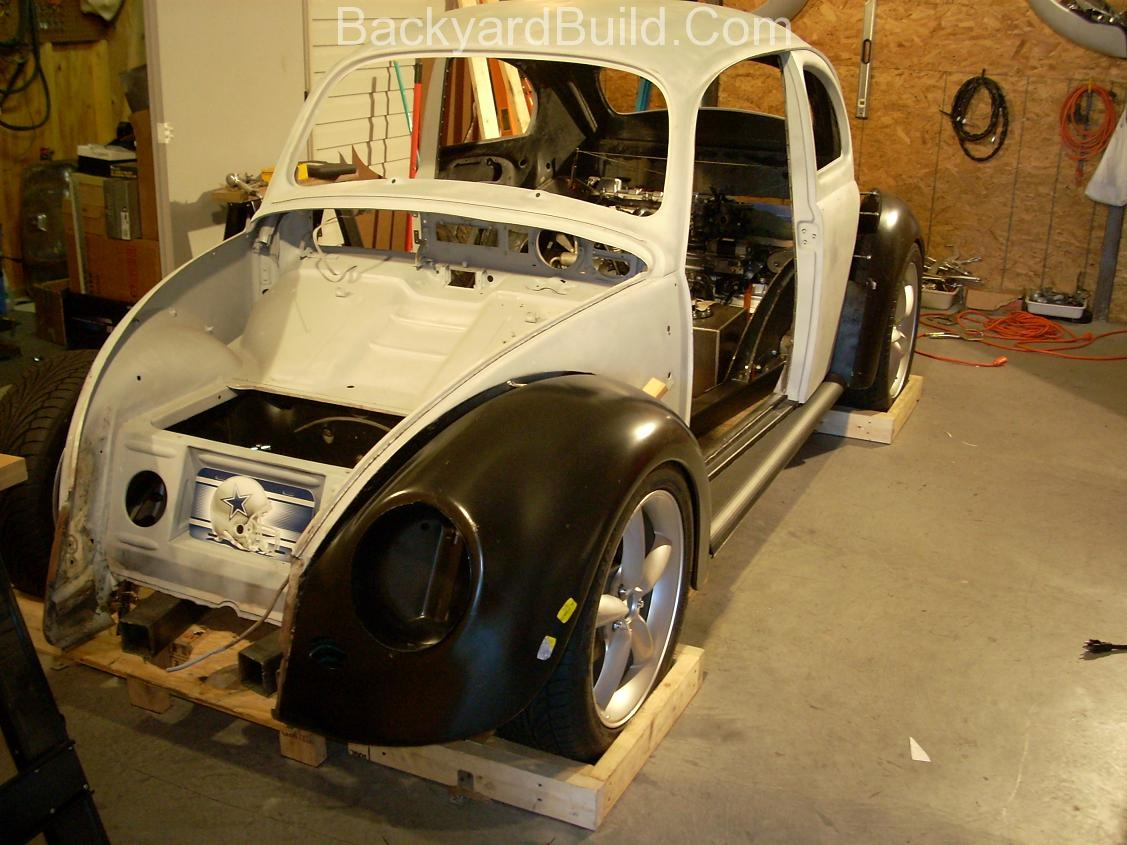 2nd complete fitting of the VW bug sheetmetal over the Toyota MR2 3SGTE motor and custom frame 14
