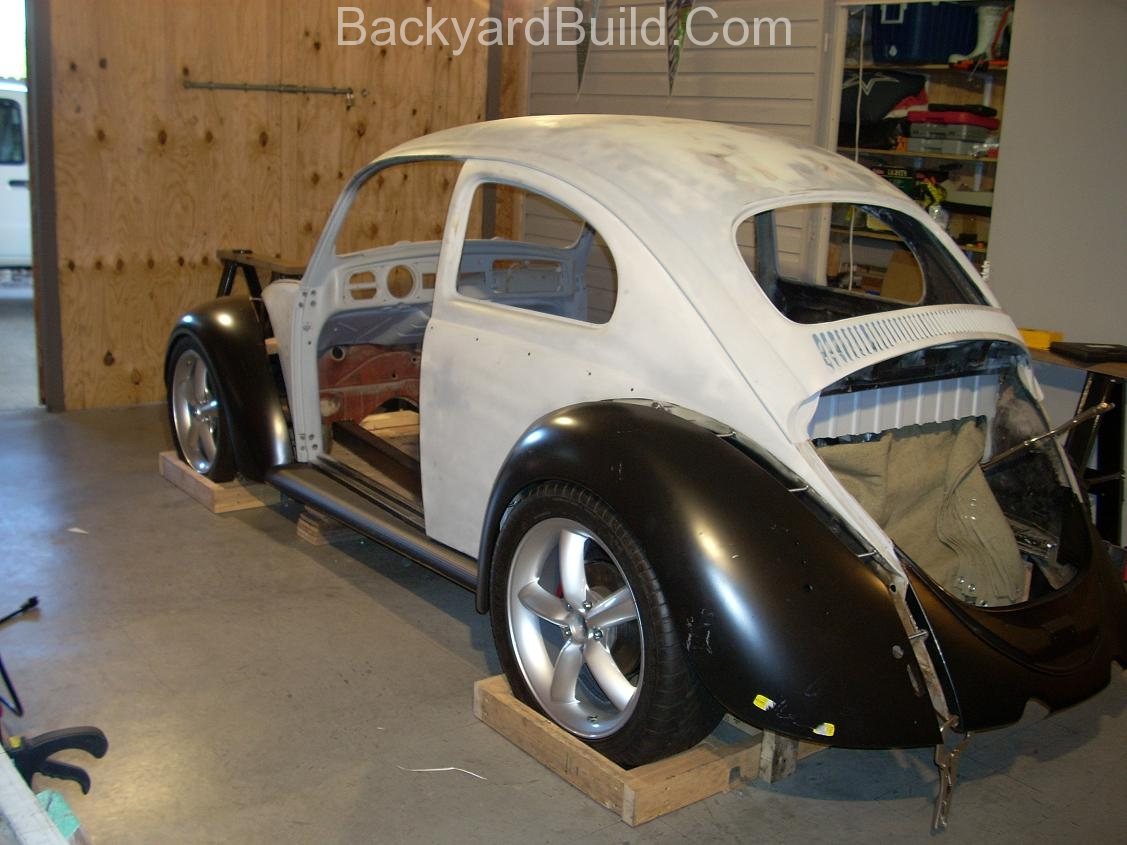 2nd complete fitting of the VW bug sheetmetal over the Toyota MR2 3SGTE motor and custom frame 13