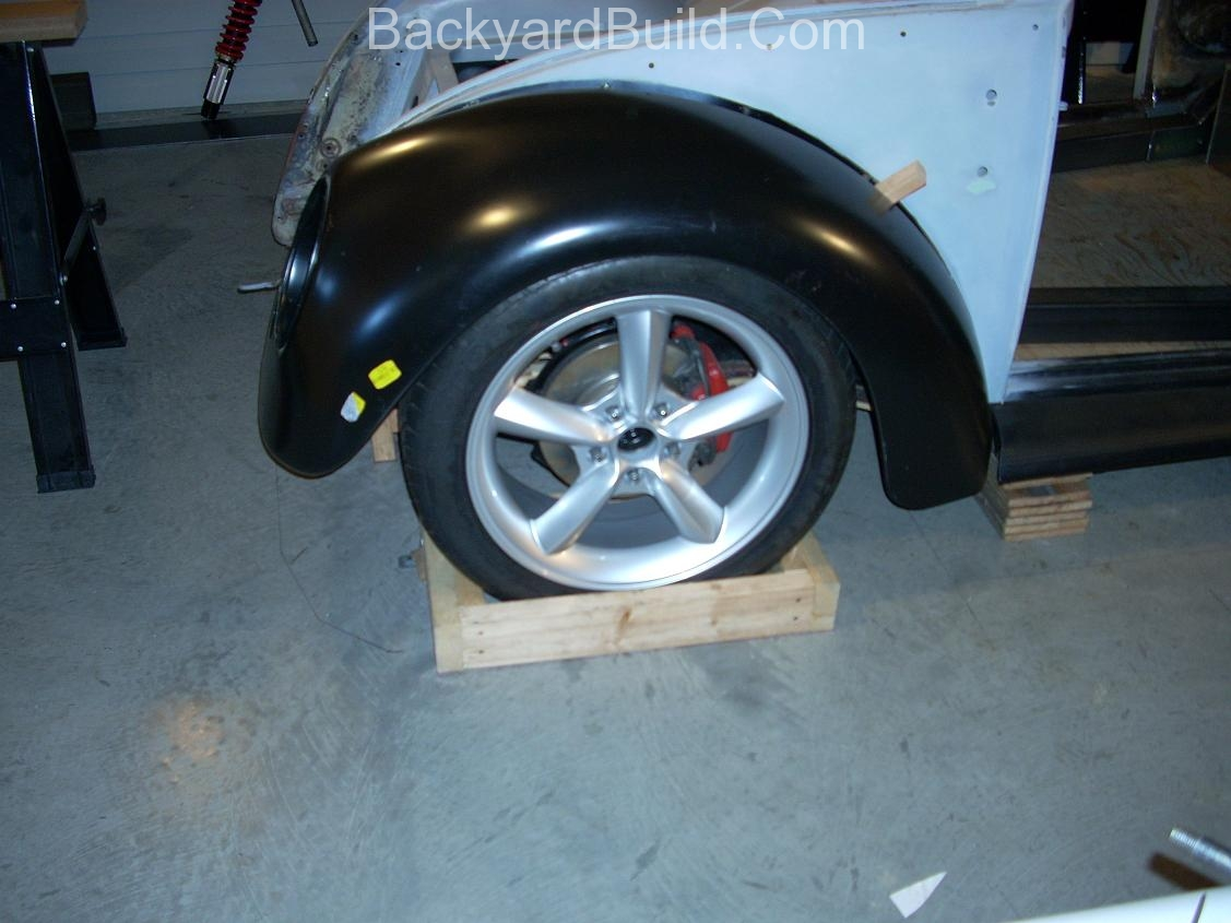 2nd complete fitting of the VW bug sheetmetal over the Toyota MR2 3SGTE motor and custom frame 12