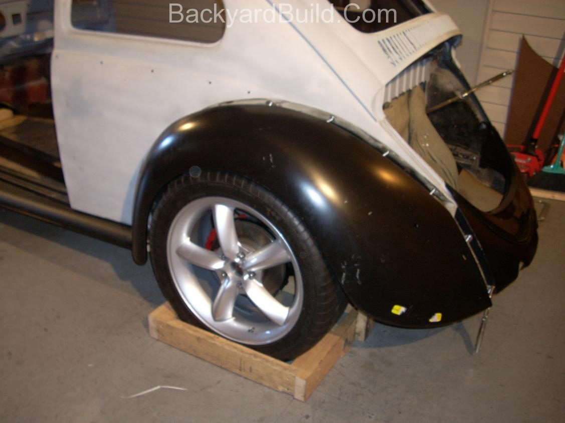 2nd complete fitting of the VW bug sheetmetal over the Toyota MR2 3SGTE motor and custom frame 11