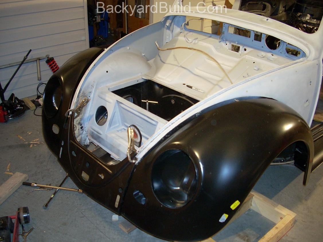 2nd complete fitting of the VW bug sheetmetal over the Toyota MR2 3SGTE motor and custom frame 9