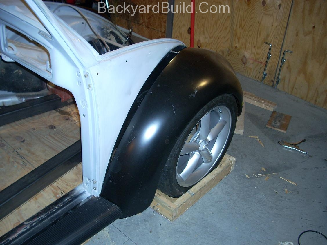 2nd complete fitting of the VW bug sheetmetal over the Toyota MR2 3SGTE motor and custom frame 7
