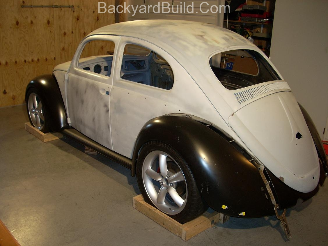 2nd complete fitting of the VW bug sheetmetal over the Toyota MR2 3SGTE motor and custom frame 6