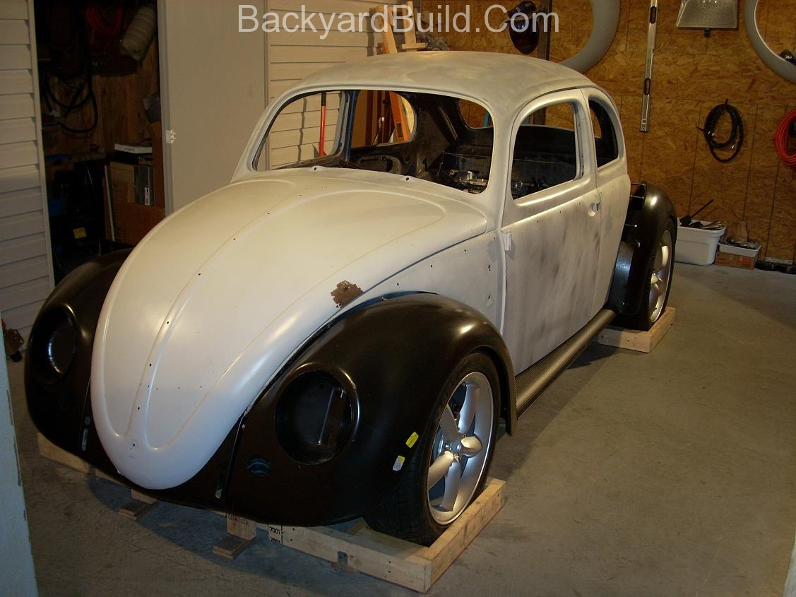 2nd complete fitting of the VW bug sheetmetal over the Toyota MR2 3SGTE motor and custom frame 4
